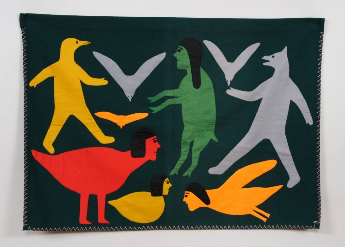 """Inuit Applique Wall Hanging of Four Humans 27""""x 39""""  Go"""