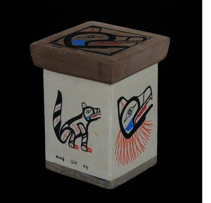 Miniature Bent Wood Box with Painted Wolf Design Marked