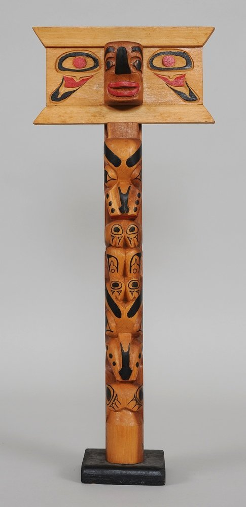 Naas River Totem with Carved Human-Raven Figure and Sea