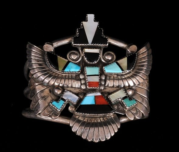 Zuni Silver Bracelet with Inlaid Knife Wing Design 70 G