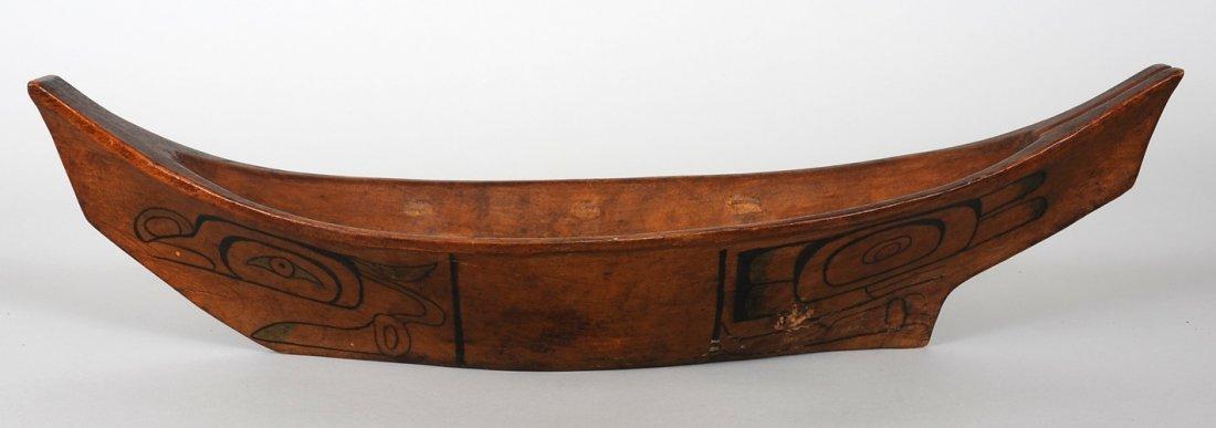 "Haida Canoe with Pained Design 19"" L. 5 1/4"" L.  Good C"