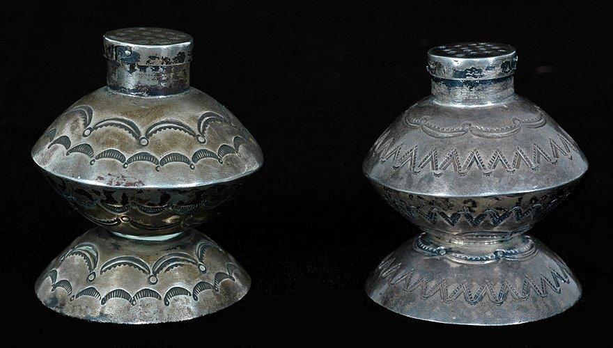 "Navajo Stamped Silver Salt and Pepper Set ca. 1920  2"""