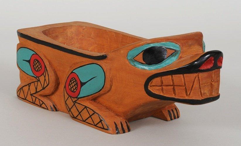 Tsimshian Bear Bowl Carved by Raymond Wesley - Port Ess