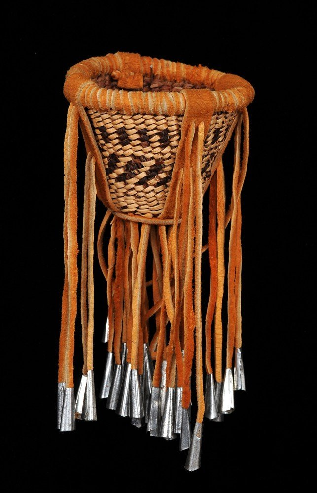 "Miniature Apache Burden Basket with Tin Cones 3 1/2"" D."