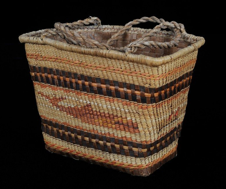 Makah Child's Double Woven Carry Basket with Whale Desi