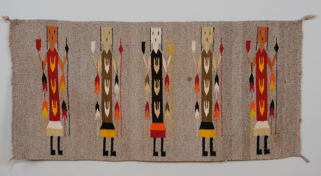 "Navajo Yei Rug 19""x 39""  Good Condition"