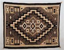 Finely Woven Navajo Two Grey Hills Rug with Feather Pat