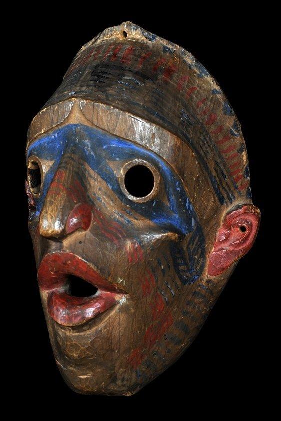 19TH C. Bella Coola Dance Mask, Fine Patina and Origina