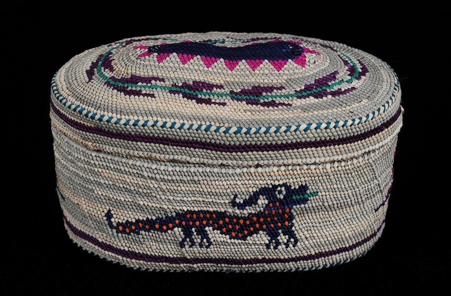 Nuu-chah-nulth Dome Top Basket with Sea Monster and