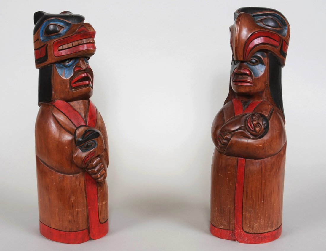 """Pair of Chief Figures Carved by Doug LaFortune 16"""" H."""