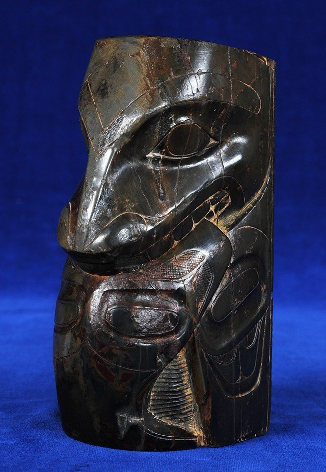 Finely Carved Early Haida Argillite Totem of a Wasco