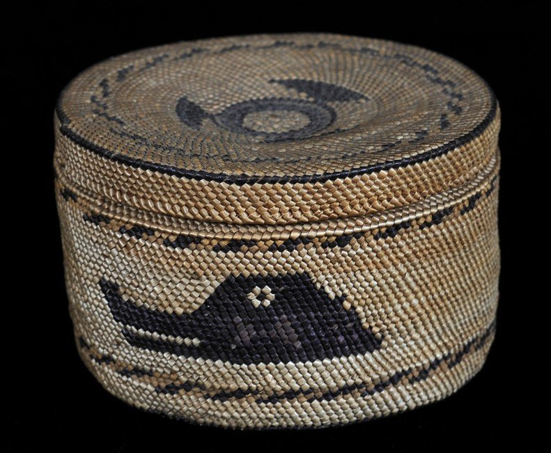 Makah Lidded Basket, Finely Woven with Wolf Design 3