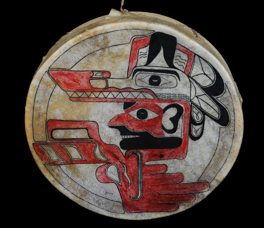 Nuu-chah-nulth Drum Painted with Wolf Dancer Design 16