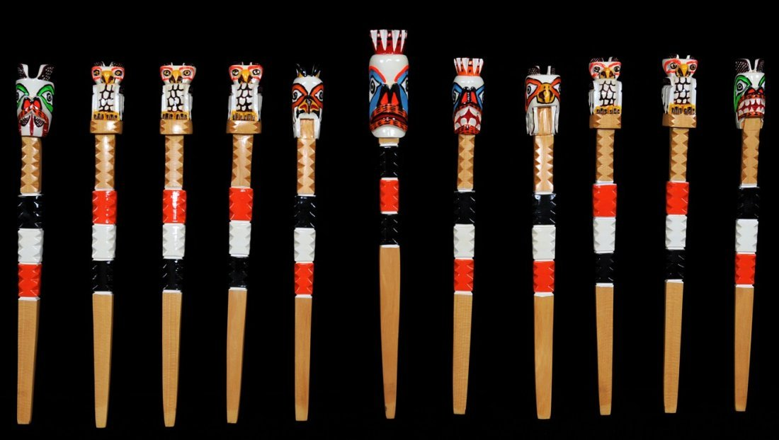 11 Northwest Coast Gambling Sticks, Carved and Painted