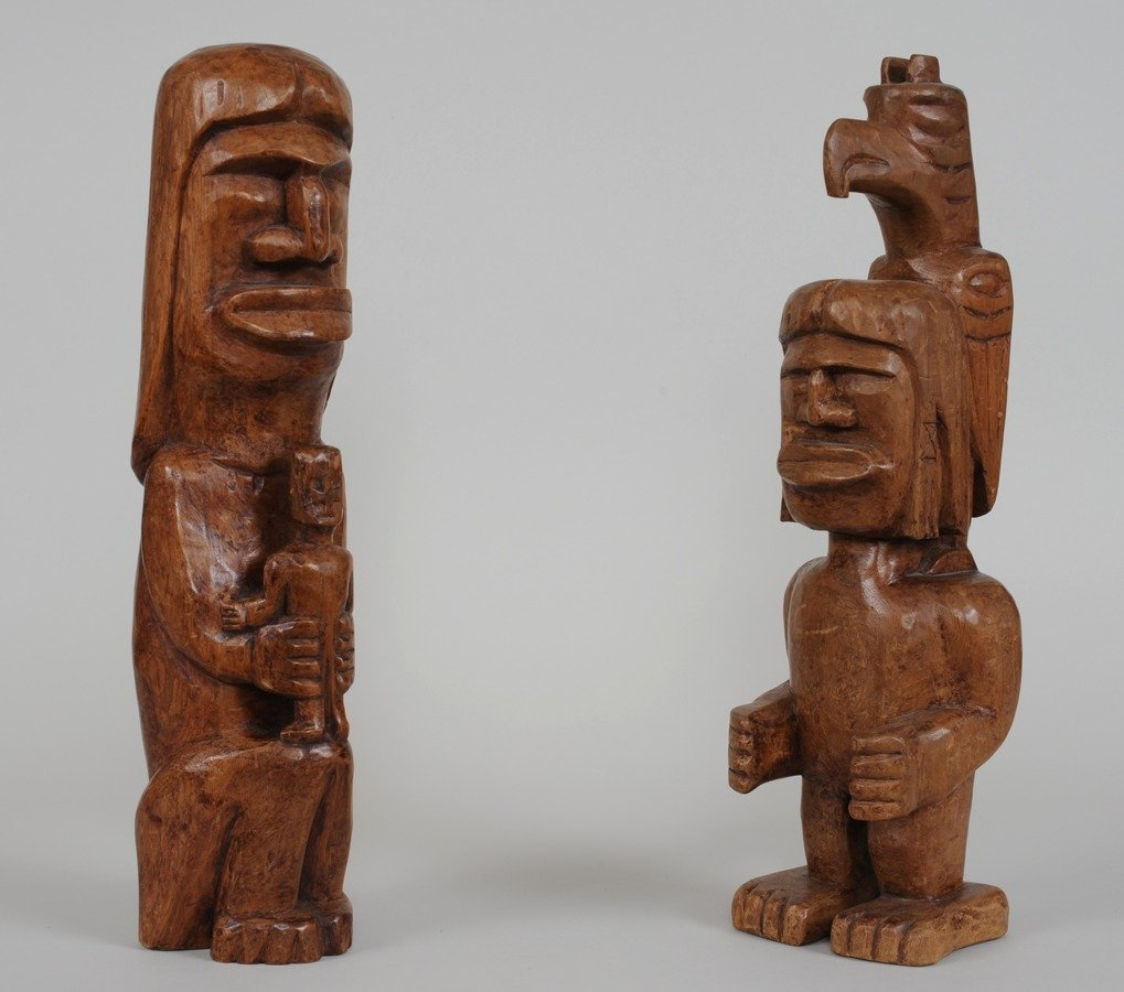 Two Coast Salish Totems Carved by Alex Julian ca. 1960