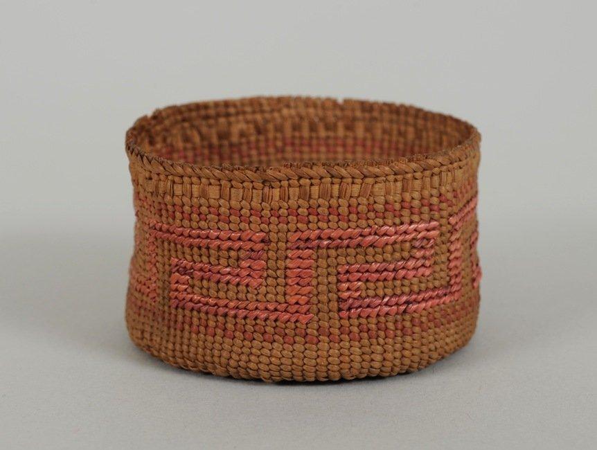 Miniature Tlingit Basket with Key Step False Imbricated