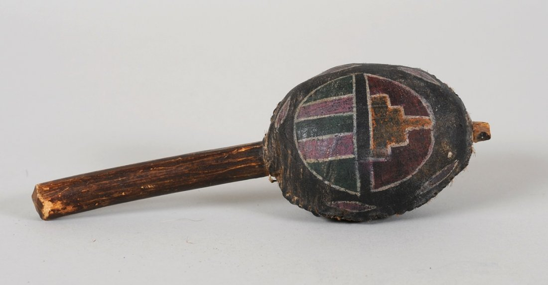 """Hopi Rattle with Painted Design 7"""" H. 2 1/2"""" W.  Good"""