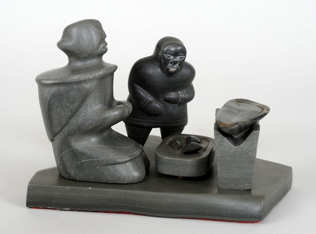 Inuit Soapstone Six Piece Cooking Scene Carved by Mina