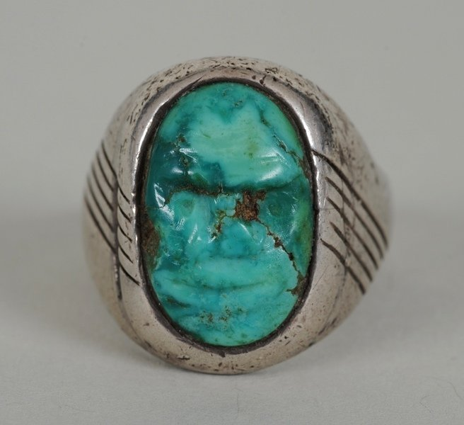 Navajo Silver and Turquoise Ring with Carved Turquoise