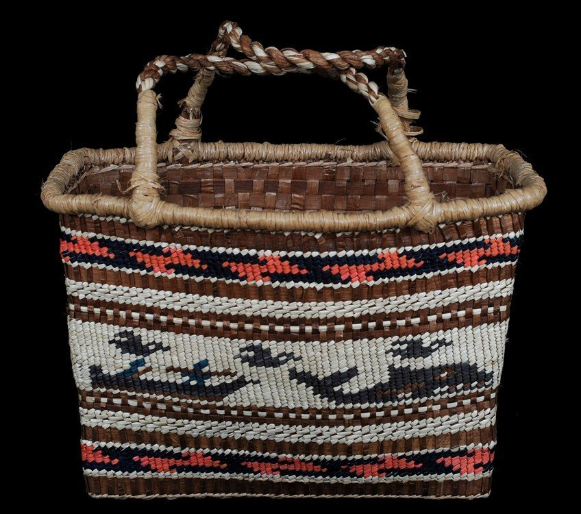 Nuu-chah-nulth Handled Double Woven Carry Basket with
