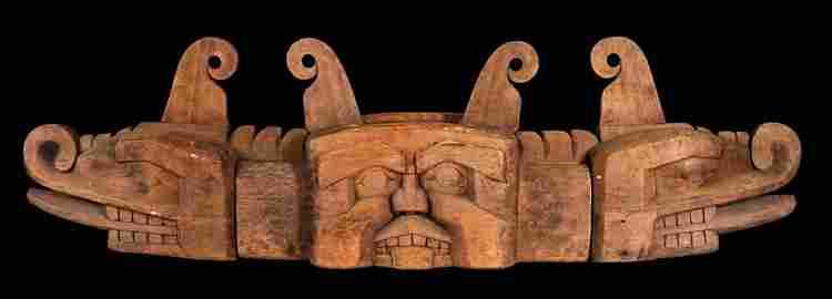 "Rare 19TH C. Kwakiutl Sisiutl Feast Bowl 86"" L. 24"" H."