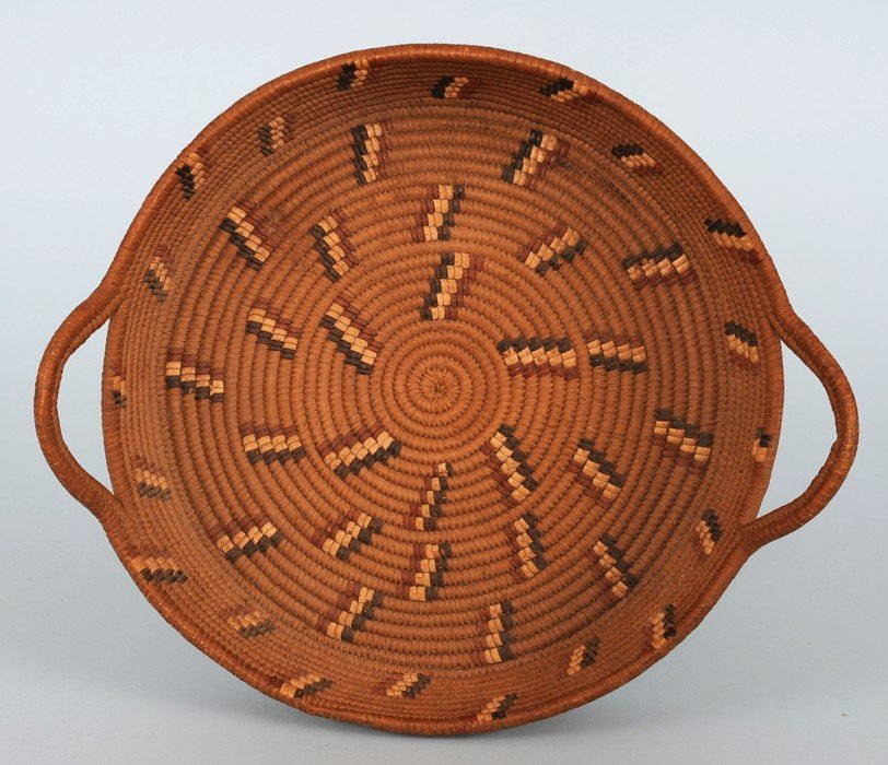 Finely Woven Lillooet Basketry Tray with Handles and