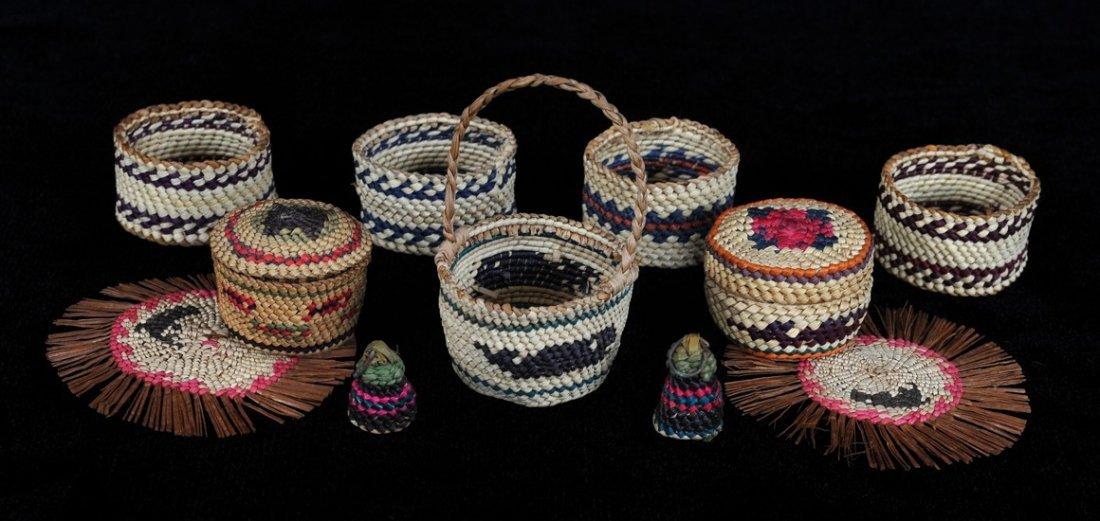 "Two Miniature Nuu-chah-nulth Lidded Baskets1 1/2"" D.,"