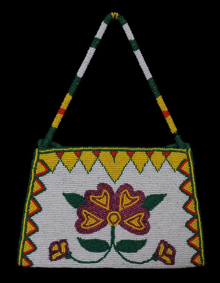 Fully Beaded Purse Floral Design with Note Inside -