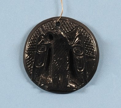 Haida Argillite Pendant Carved with Eagle Holding a