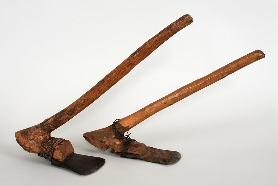 native american adze. two coast salish canoe elbow adze with iron blade and native american