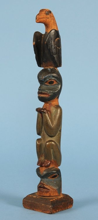 Tlingit Totem Carved with Three Figures ca. 1900  11