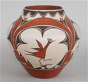 Zia Pueblo Pottery Olla with Spalling and Roadrunner