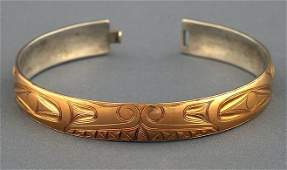 Charles Edenshaw Gold Bracelet with Incised Double Sea