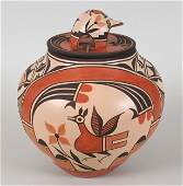 Zia Pueblo Pottery Olla with Turtle Lid and Roadrunner,