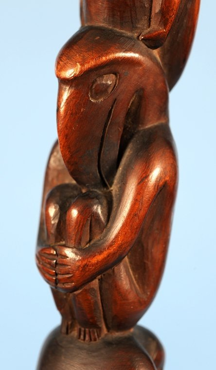 Yew Wood Ceremonial Staff Carved with Multiple Figure - 3