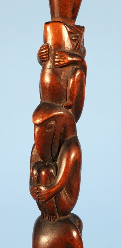 Yew Wood Ceremonial Staff Carved with Multiple Figure - 4
