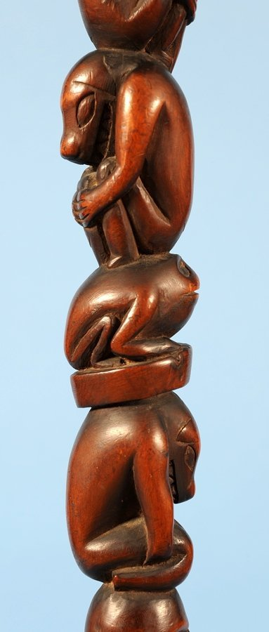 Yew Wood Ceremonial Staff Carved with Multiple Figure - 5