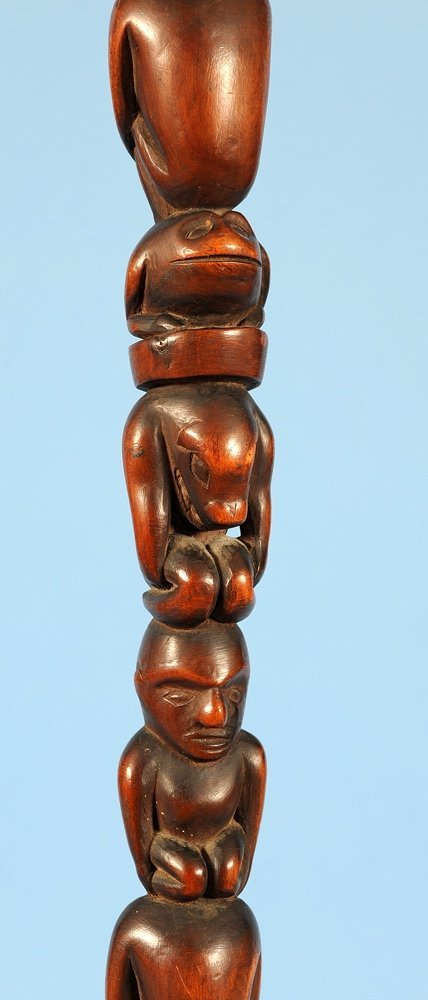 Yew Wood Ceremonial Staff Carved with Multiple Figure - 6