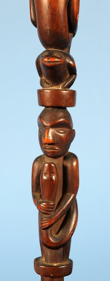 Yew Wood Ceremonial Staff Carved with Multiple Figure - 7