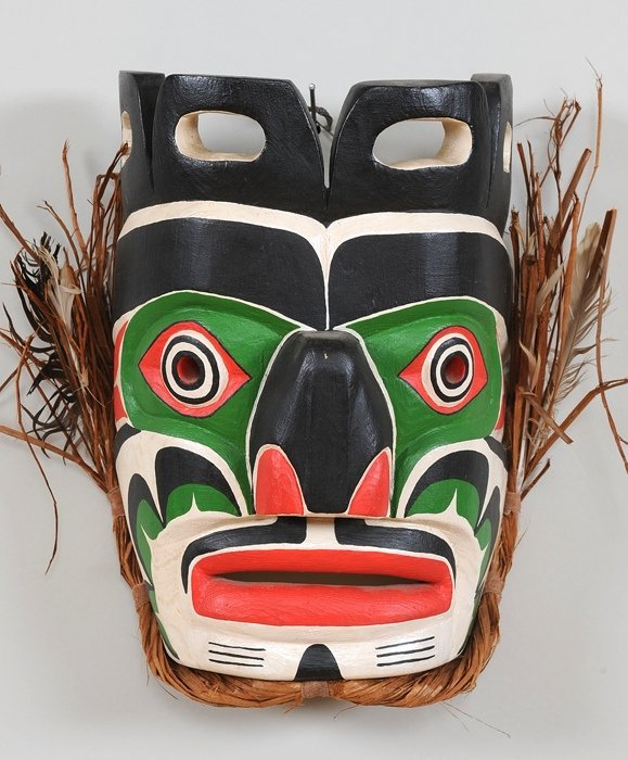 "Haida Komokwa Mask Carved by Andy Wesley 12"" H. 9 1/2"""