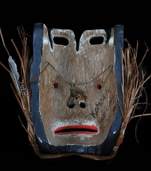 "Haida Komokwa Mask Carved by Andy Wesley 12"" H. 9 1/2"" - 2"