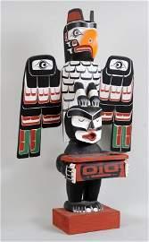 Oscar Matilpi Kwagiulth Totem Carved with Thunderbird