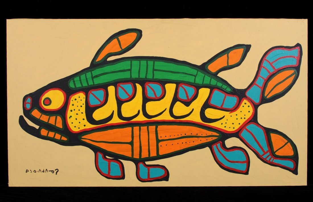 Norval Morrisseau Painting on Canvas of a Spirit Fish
