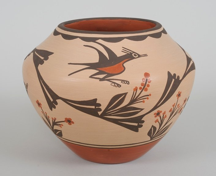 Zia Pottery Bowl with Roadrunner and Floral Design by
