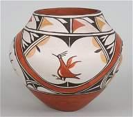 Zia Pueblo Pottery Jar with Rainbows, Clouds and