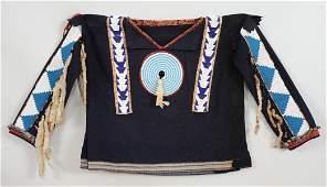 Blackfoot Beaded Mans Wool Shirt ca 18901900 Sinew