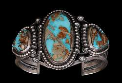 Navajo Heavy Silver and Turquoise Bracelet with Twisted