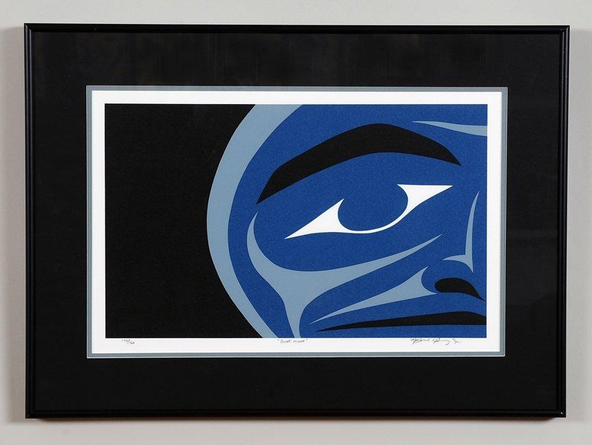 """Maynard Johnny Jr. Serigraph """"Blue Moon"""" 140/160 '98"""