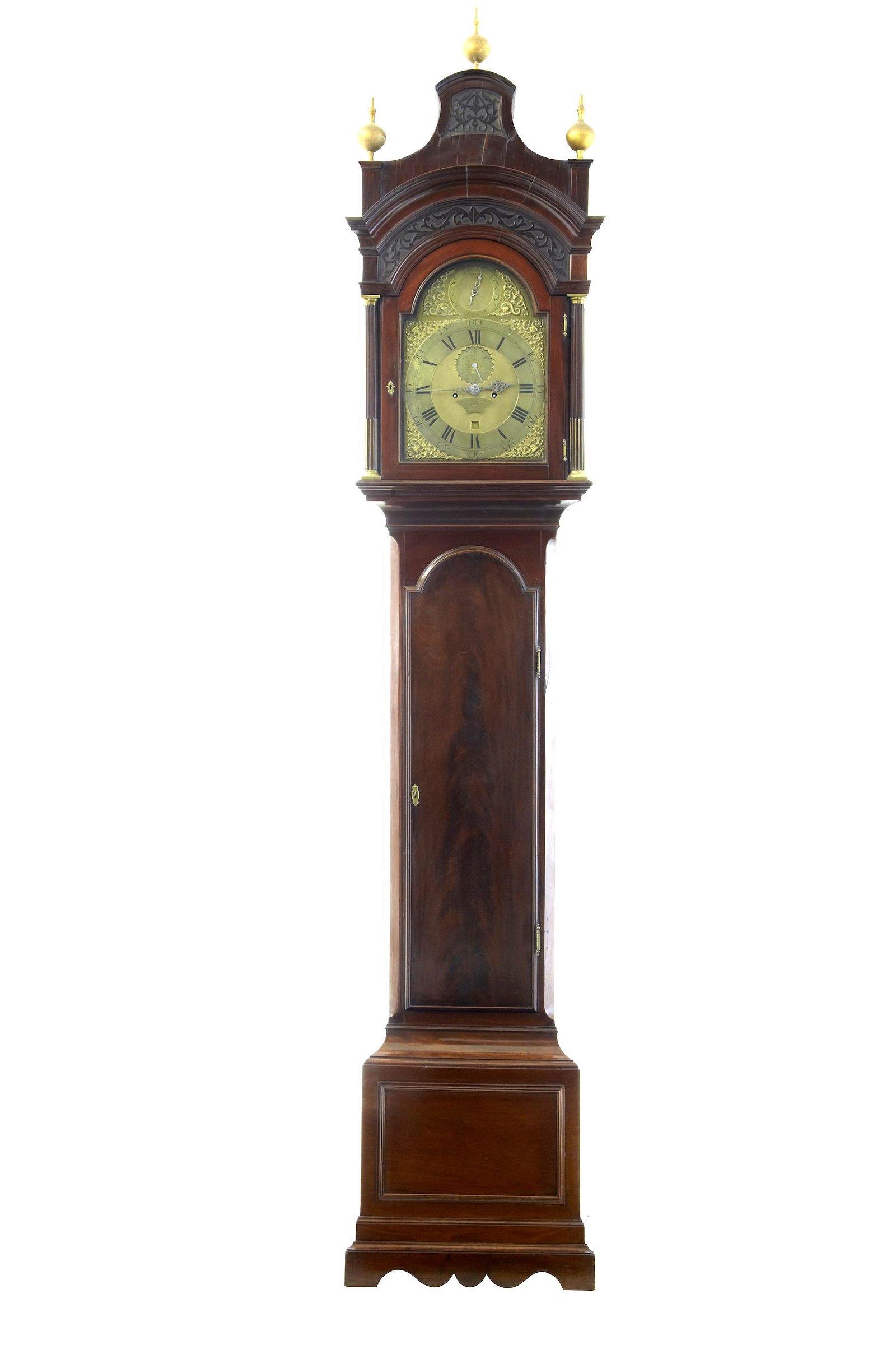 18TH CENTURY MAHOGANY LONGCASE GRANDFATHER CLOCK
