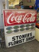 Large Coca Cola Stoner's Florist Shop Sign